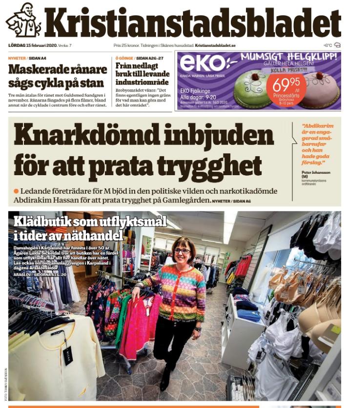 Damshopen får besök av Kristianstadsbladet första sidan