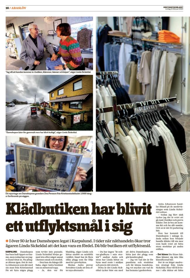 Damshopen får besök av Kristianstadsbladet uppslag 1